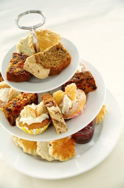 Afternoon tea cake and sandwich selection