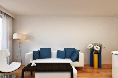 Living room interior scene with flowers