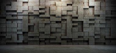 Interior scene with concrete