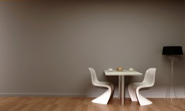 Interior scene chairs table lamp