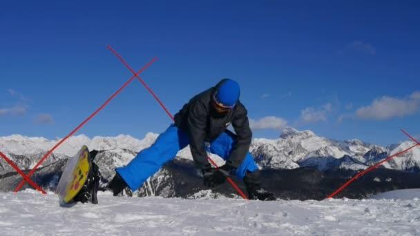 muž rozcvičení před snowboarding