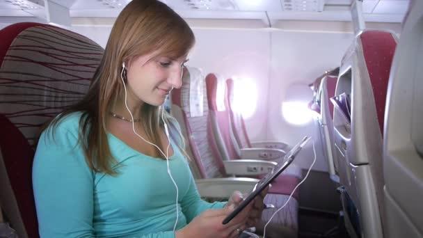 Woman using e-reader