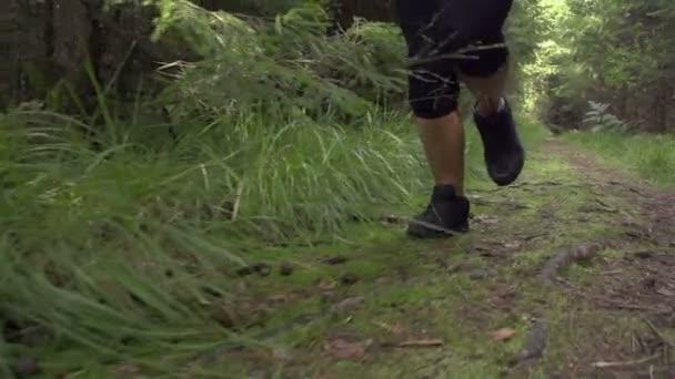 Female running through the woods