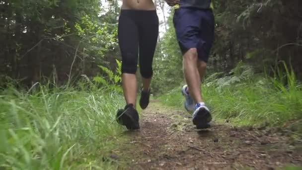 coppia jogging nella foresta
