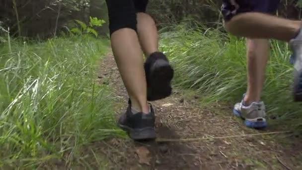 lidé běží lesem