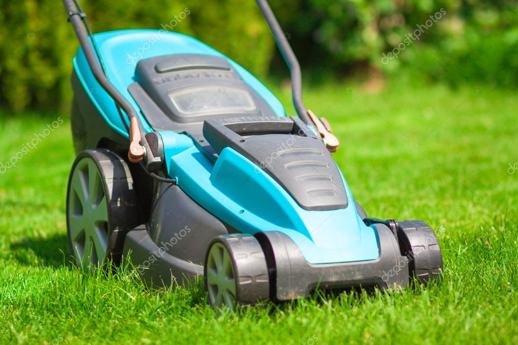 blue lawn mower on green gras