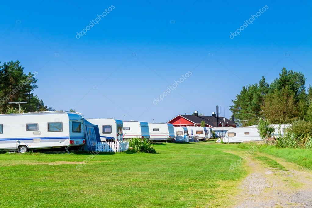 Camping with caravans in nature park