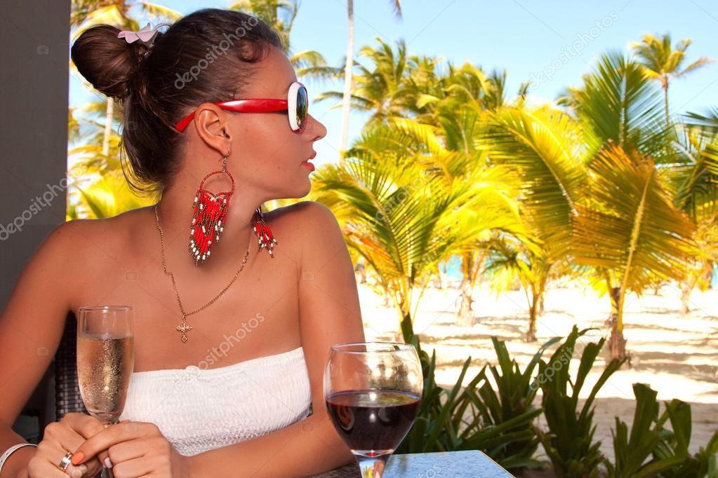 Girl relaxing enjoying luxury lifestyle