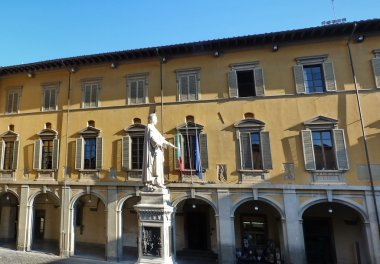 Statue of Francesco Di Marco Datini in Comune square, Prato, Tuscany, Italy