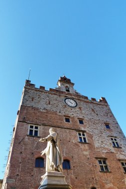 Palazzo Pretorio and statue of Francesco Di Marco Datini, Prato, Tuscany, Italy