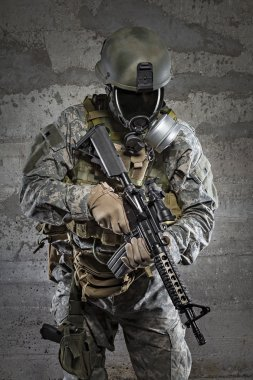 Gas mask soldier with rifle