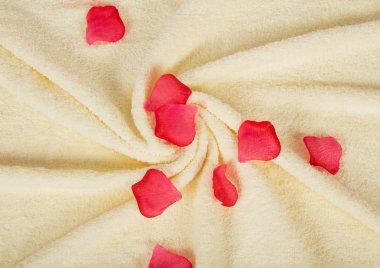 Fluffy a towel, beautifully put, with petals of roses