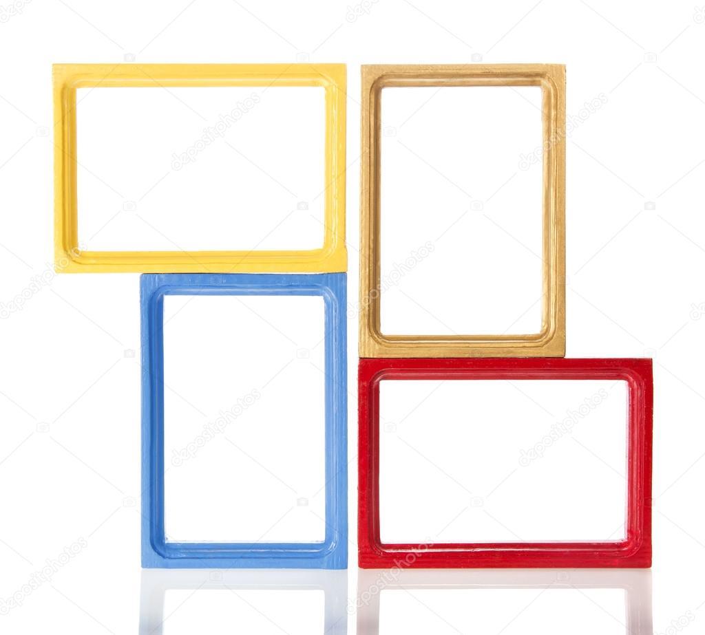 conjunto de cuatro marco de madera para una foto o las fotos ...
