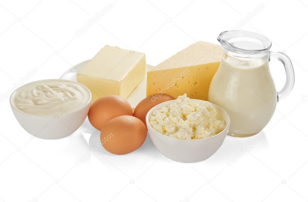 The dairy products isolated on white — stock photo
