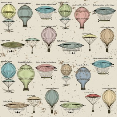 Vintage seamless pattern of hot air balloons and airships