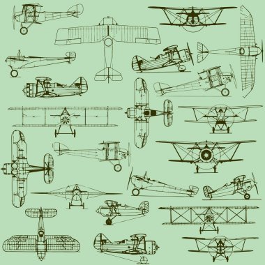 Retro seamless old airplanes pattern
