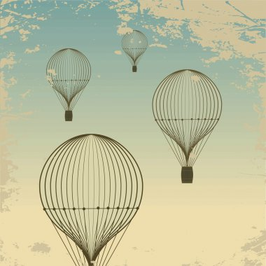 Retro hot air balloon sky background old paper texture. Vintage clip art vector