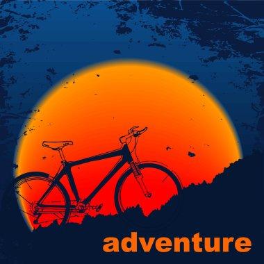 Silhouette muontain-bike, sunset.