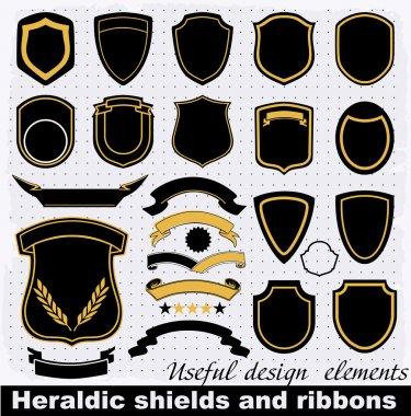 Heraldic shields and ribbons.