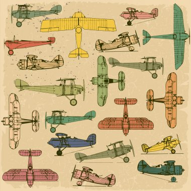 Airplanes. Retro seamless pattern on vintage old paper. clip art vector