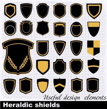 Heraldic shields . Vector Set of retro badges, labels, and design elements.