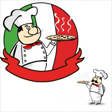 Cartoon italian chef banner. Design menu and label.