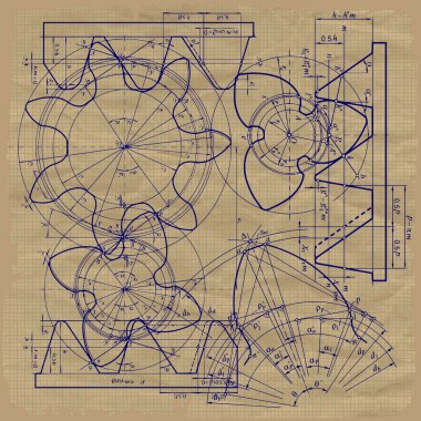 Old technical background, gear on graph paper craft