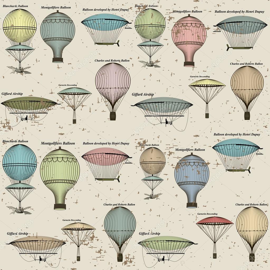 vendimia de patrones sin fisuras de globos aerostáticos y dirigibles ...