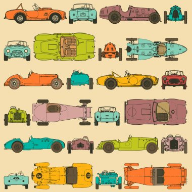 Colorful seamless pattern, vintage sports cars