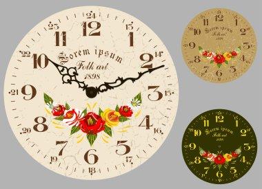 Folk Art. Antique wall clock