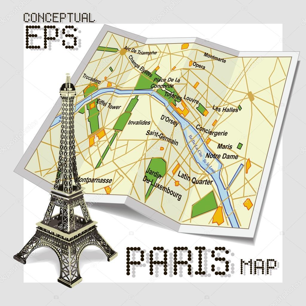 パリの概念の観光地図 ストックベクター Pgmart 32060367