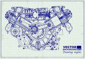 rajz a régi motort függvénydiagram-papírra.