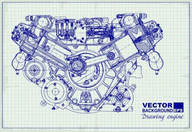 Drawing old engine on graph paper. Vector background. stock vector