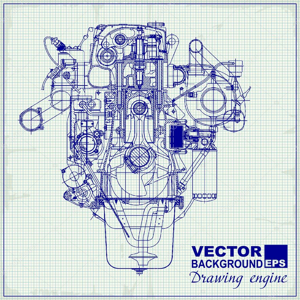 drawing old engine on graph paper  — stock vector