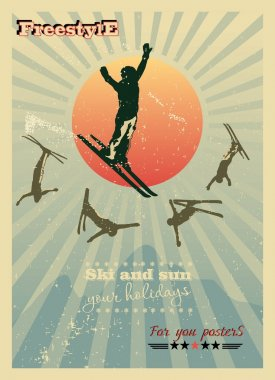 Alpine poster, skier in the sun, plus five silhouettes