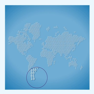Digital World Map with binary code