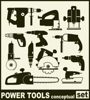 Power Tools - conceptual set of isolated vector icons