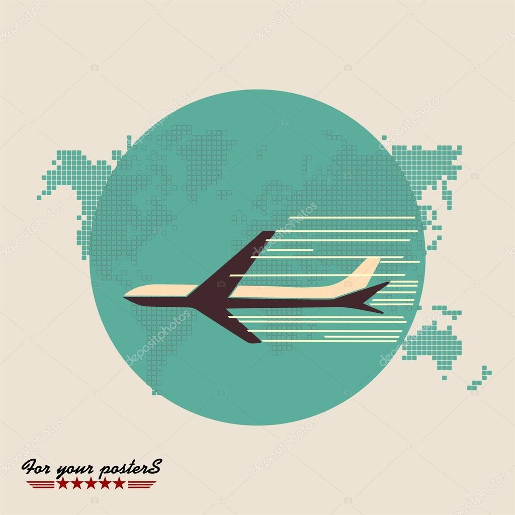 Airliner on world map background retro poster stock vector airliner on world map background retro poster flat design vector by pgmart gumiabroncs Choice Image