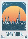 ilustrace Panorama new Yorku při západu slunce
