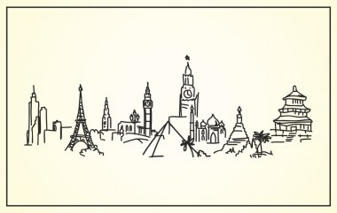 Sketch,Hand-drawing panorama the world's landmarks