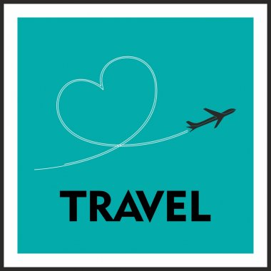 Love Travel Concept. A Airplane flying leaving behind a love shaped trail