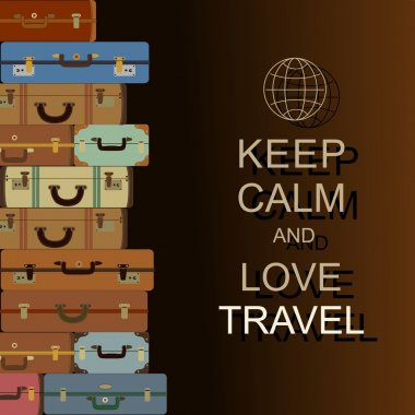 Vector background with suitcases and slogan