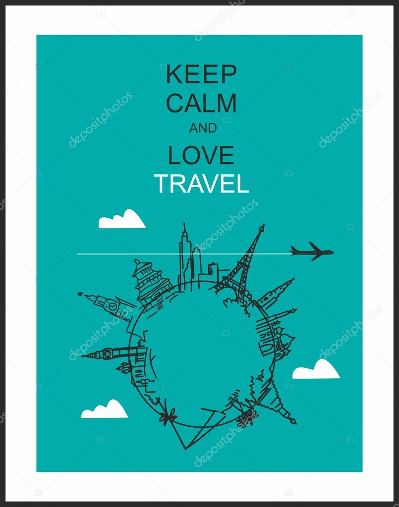 Travel and tourism background . Drawn hands world attractions and slogan