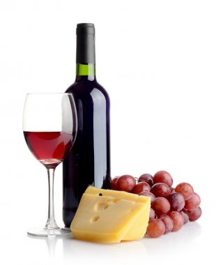 Bottle of red wine and cheese