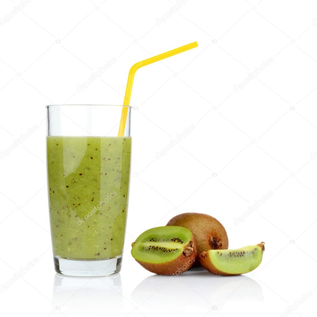 Group of sliced kiwi with juice studio shot white background with straw