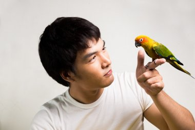 Asian men with parrot - Sun Conure
