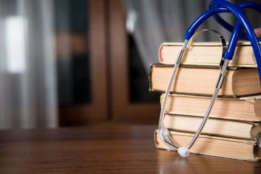 Phonendoscope. medical records, books