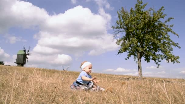 A small girl in the field