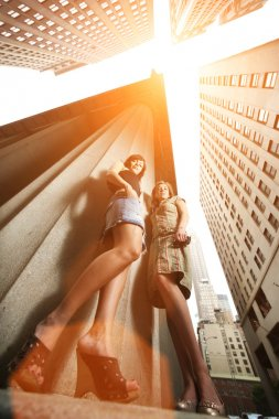 Two sexy young women in New York City