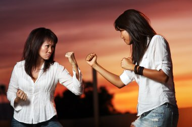 Two asian women fighting